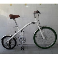 แม่บ้านทรงยีราฟญี่ปุ่น มือสอง Californian Bike สีขาว ล้อหน้า 24 นิ้ว ล้อหลัง 16 นิ้ว เกียร์ 6 สปีด
