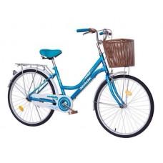 จักรยานทรงแม่บ้านญี่ปุ่นวินเทจ WCI 24 รุ่น Nice  ทรงญี่ปุ่น สวยคลาสสิค สีสันสดใส พร้อมตะกร้าหน้าใบใหญ่ลายหวายสวยงาม แฮนด์จับนุ่มมือ ปั่นสบาย